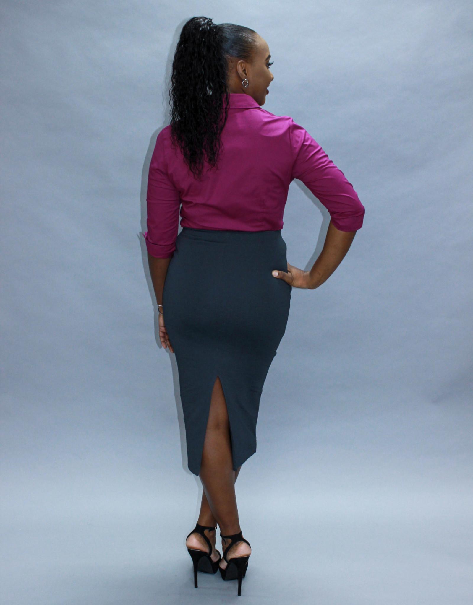 Charcoal Grey Midi Pencil Skirt