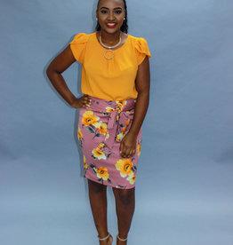 Garden Beat Floral Skirt Mauve