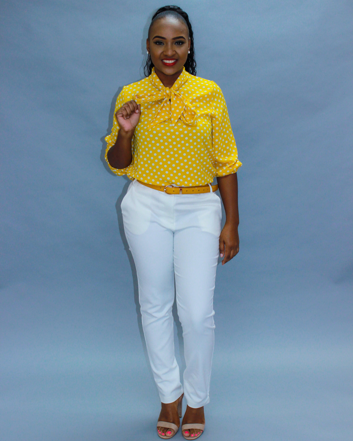 Tie Me Up Mustard Polka Dot Top