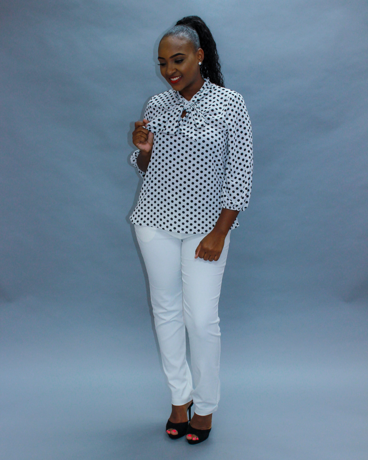 Tie Me Up White Polka Dot Top