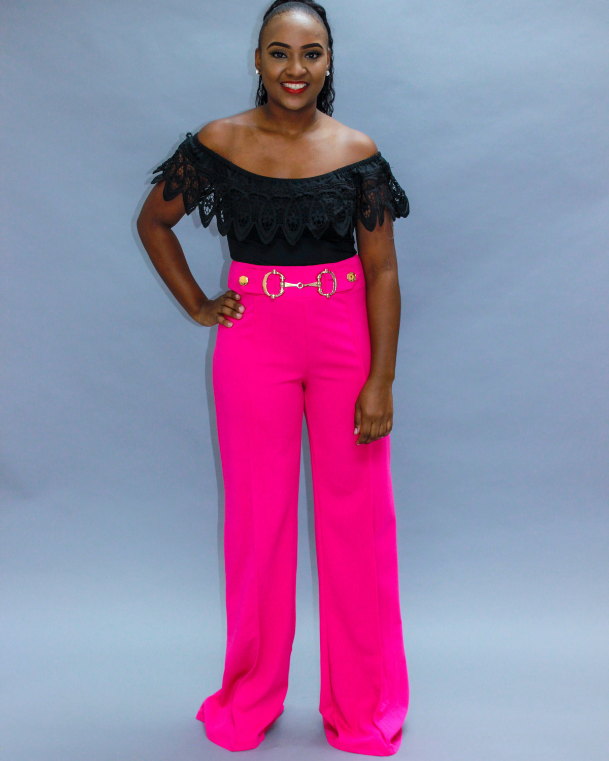 Check It Out Buckle Pants Pink