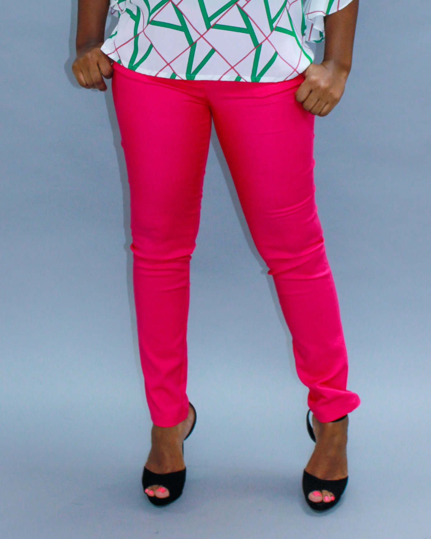 Fuchsia Classic Straight Pants
