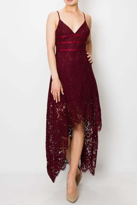 Flutter Along Lace Hi Lo Dress