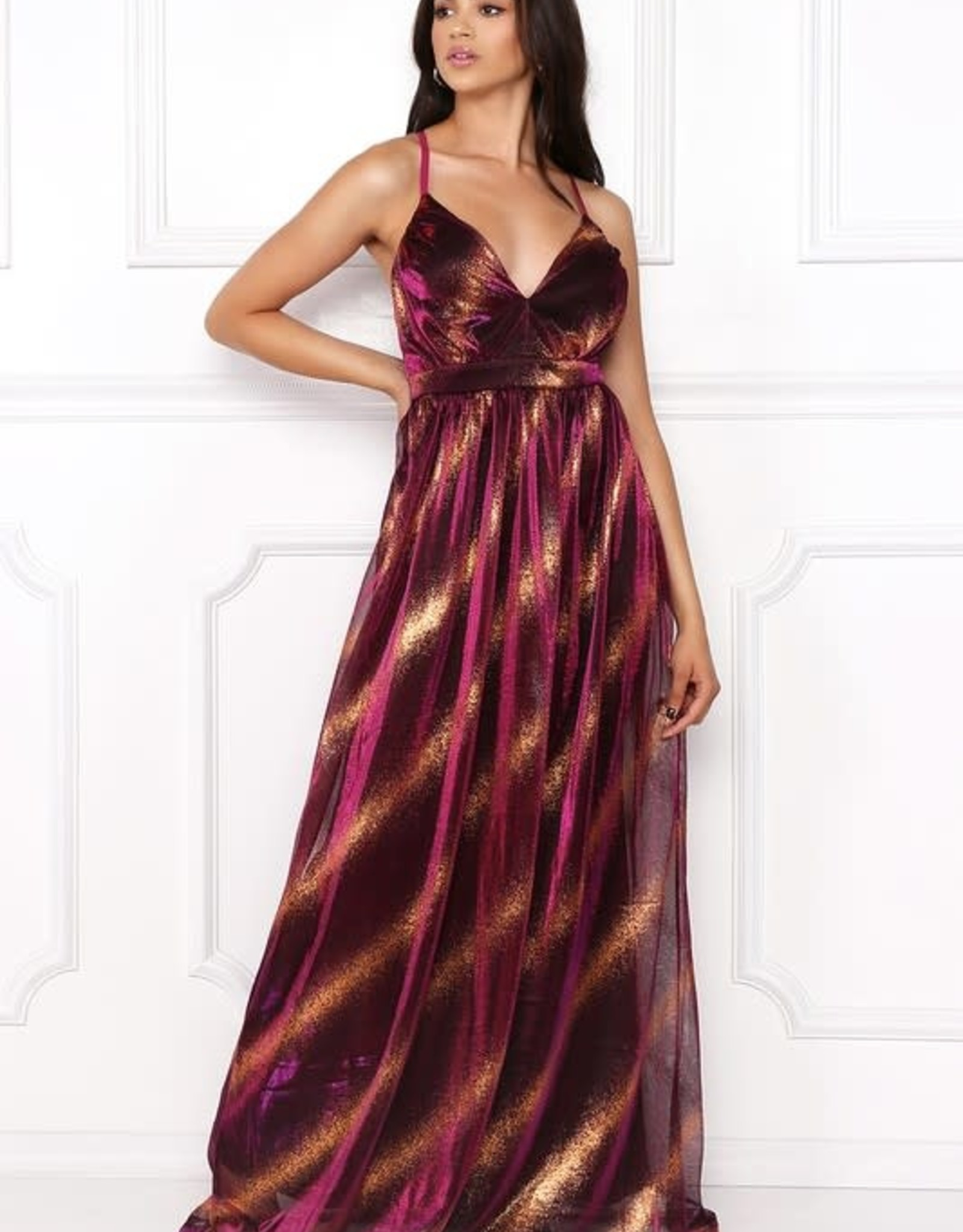 So Iconic Metallic Maxi Dress