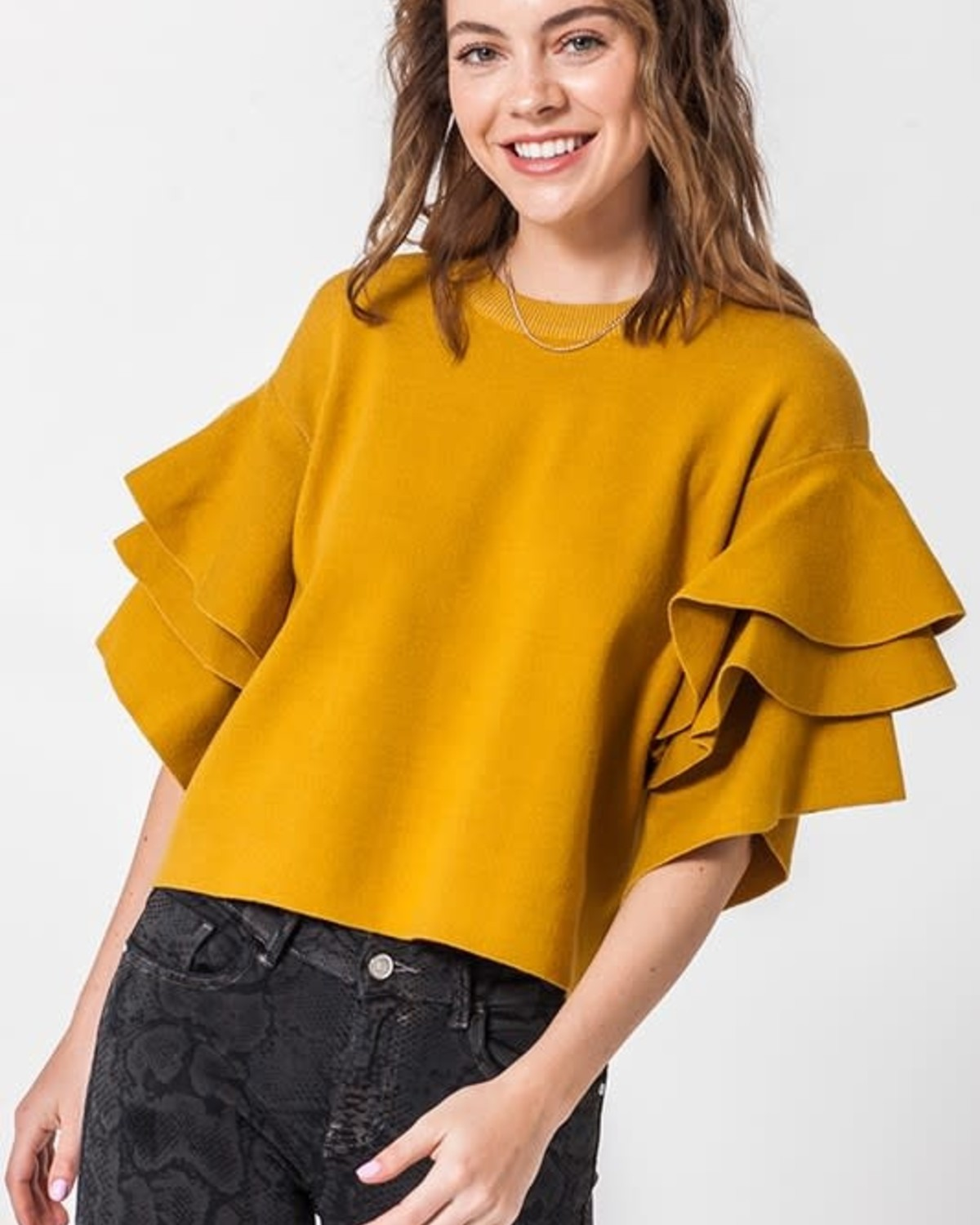 Love The Chase Ruffle Top Mustard