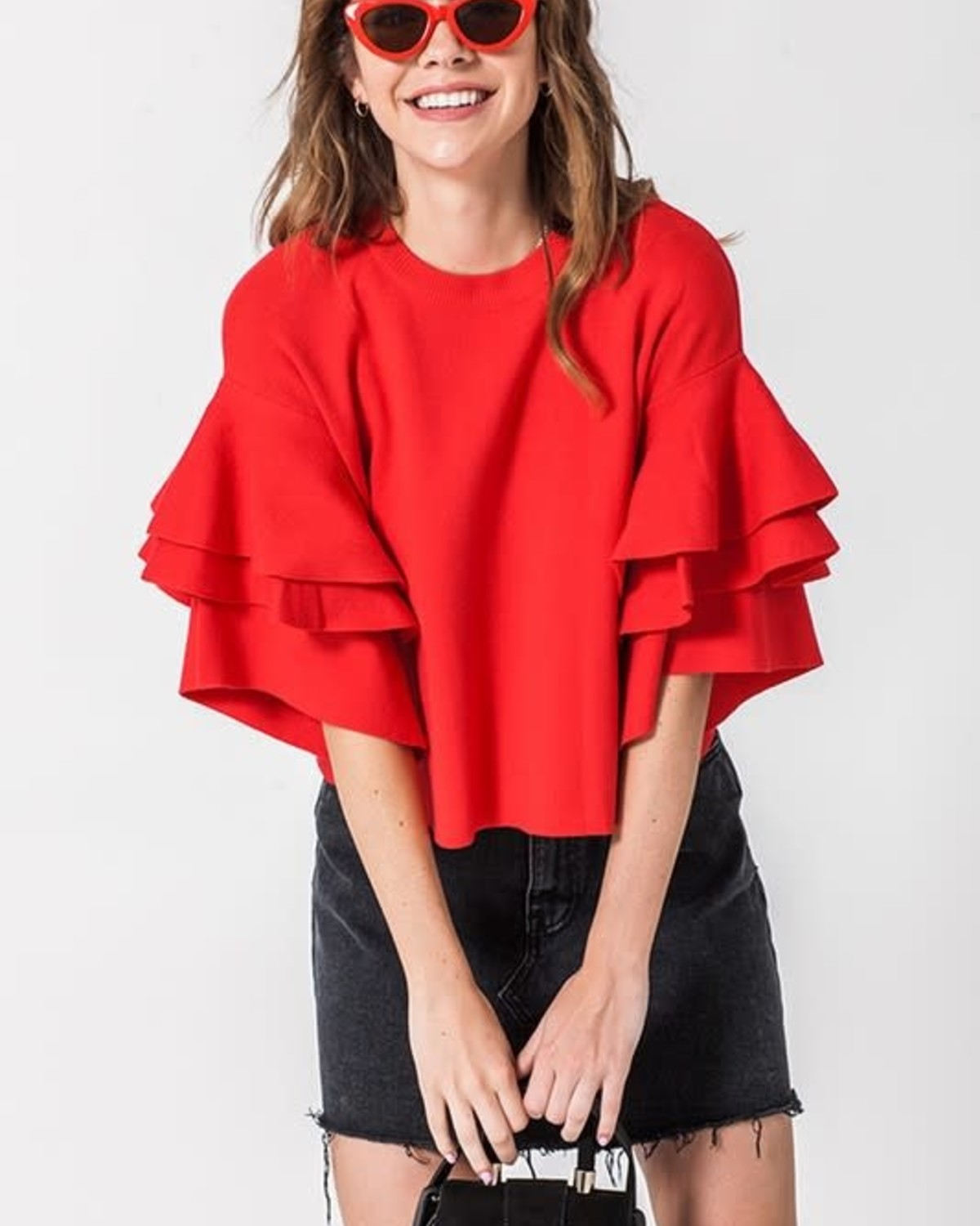 Love The Chase Ruffle Top Red