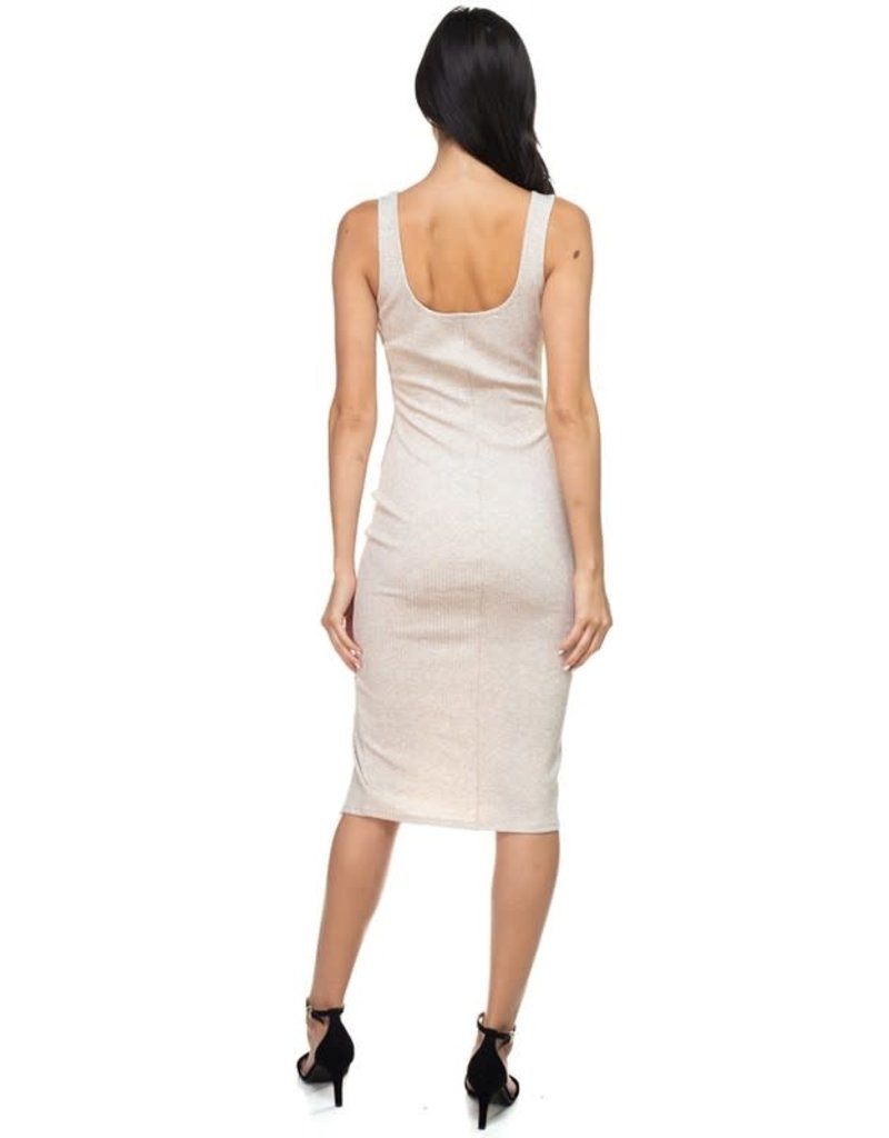 About Turn Ribbed Mid Dress