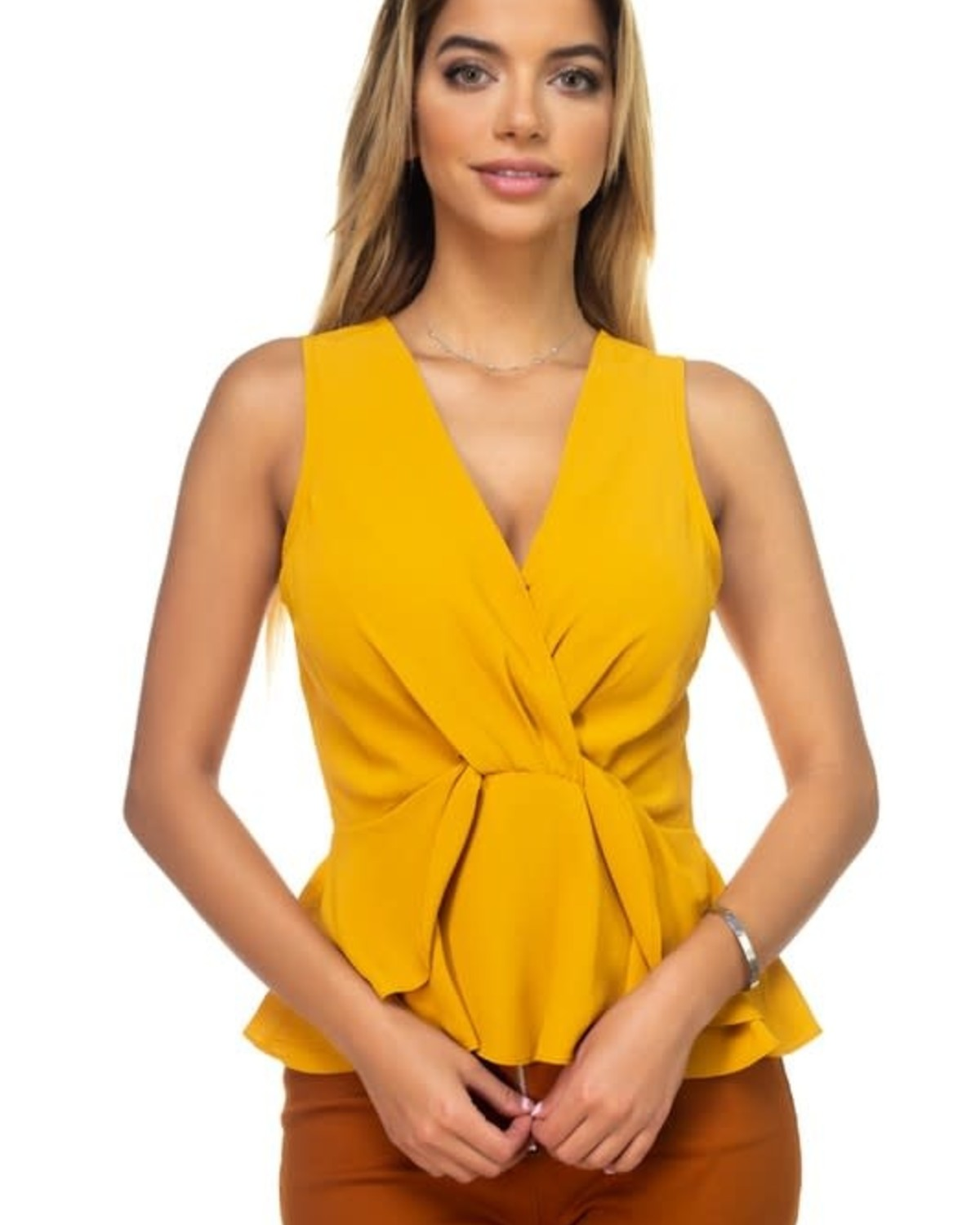 Knot My Type Ruffle Top Mustard