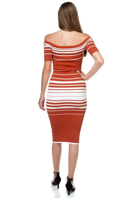 All Fall Down Striped Off Shoulder Dress