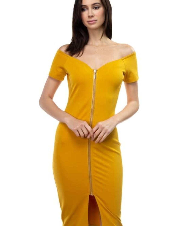 Imagine That Zippered Dress Mustard