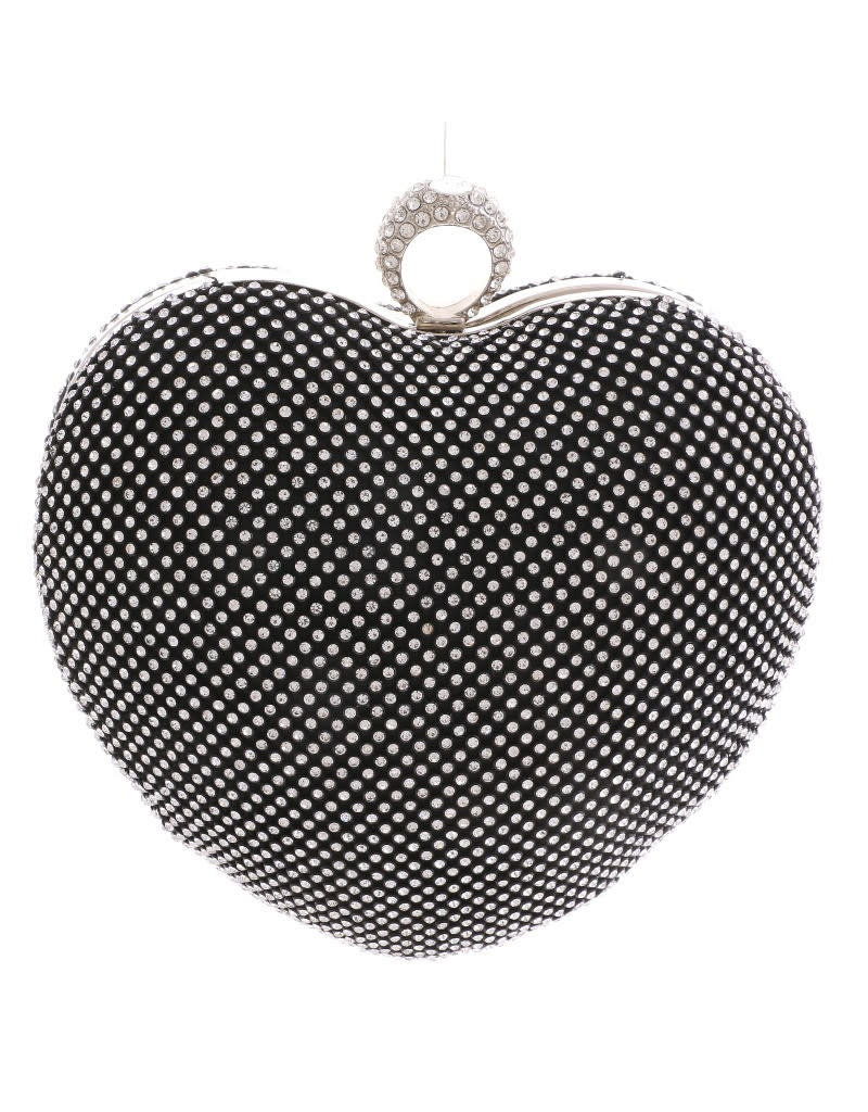 So Heartless Rhinestone Clutch