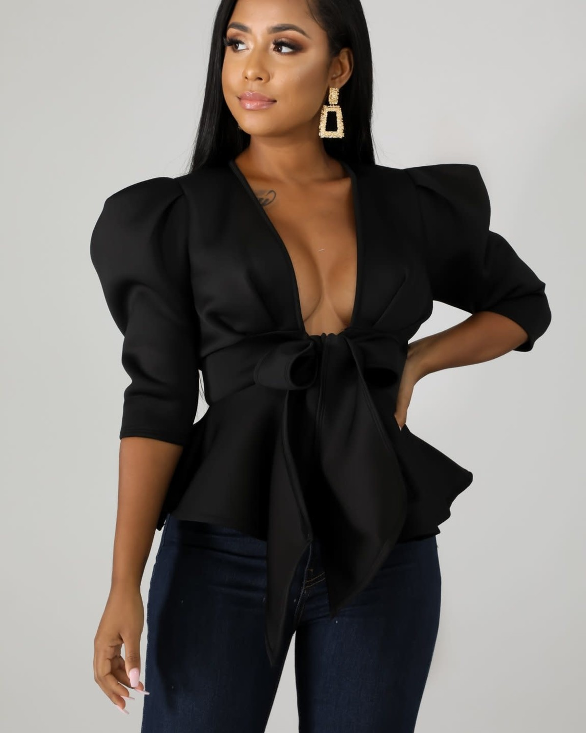 Boss Up Tie Top Black