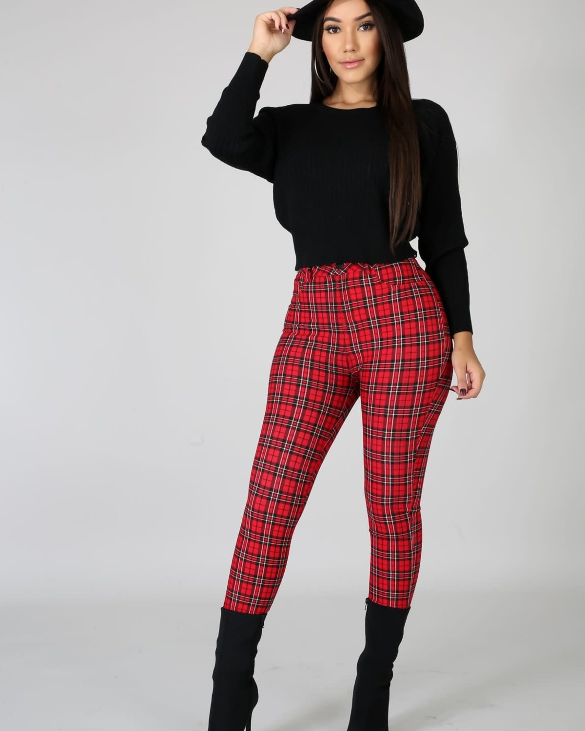 Straight To The Point Plaid Pants Red