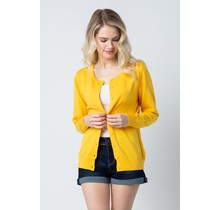 Yellow Round Neck Cardigan