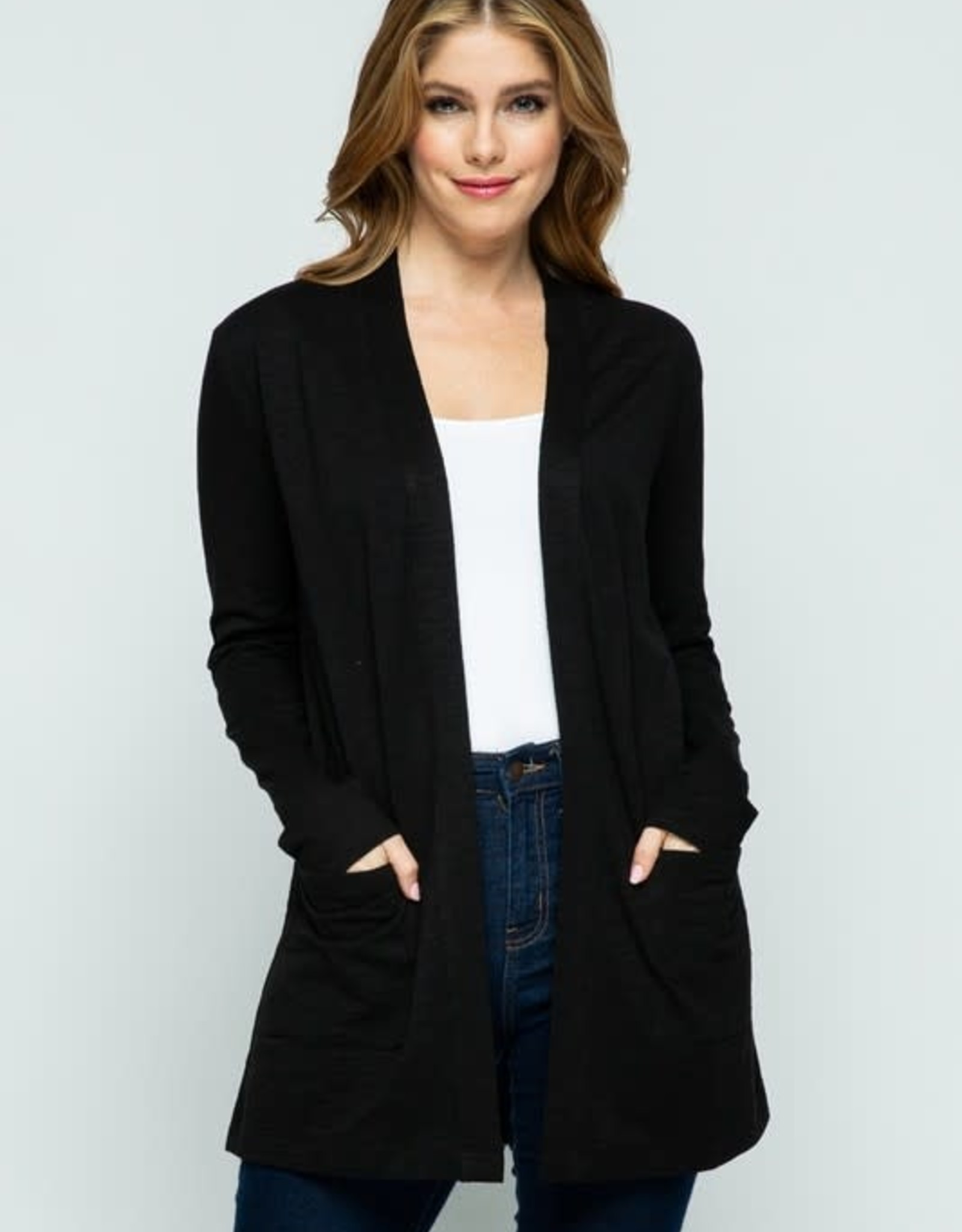 Black Open Front Knit Cardigan