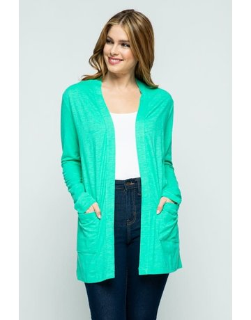 Mint Leaf Open Front Knit Cardigan