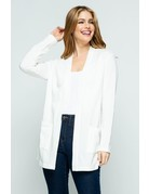 Modern White Open Front Knit Cardigan