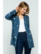 Blue Star Open Front Knit Cardigan