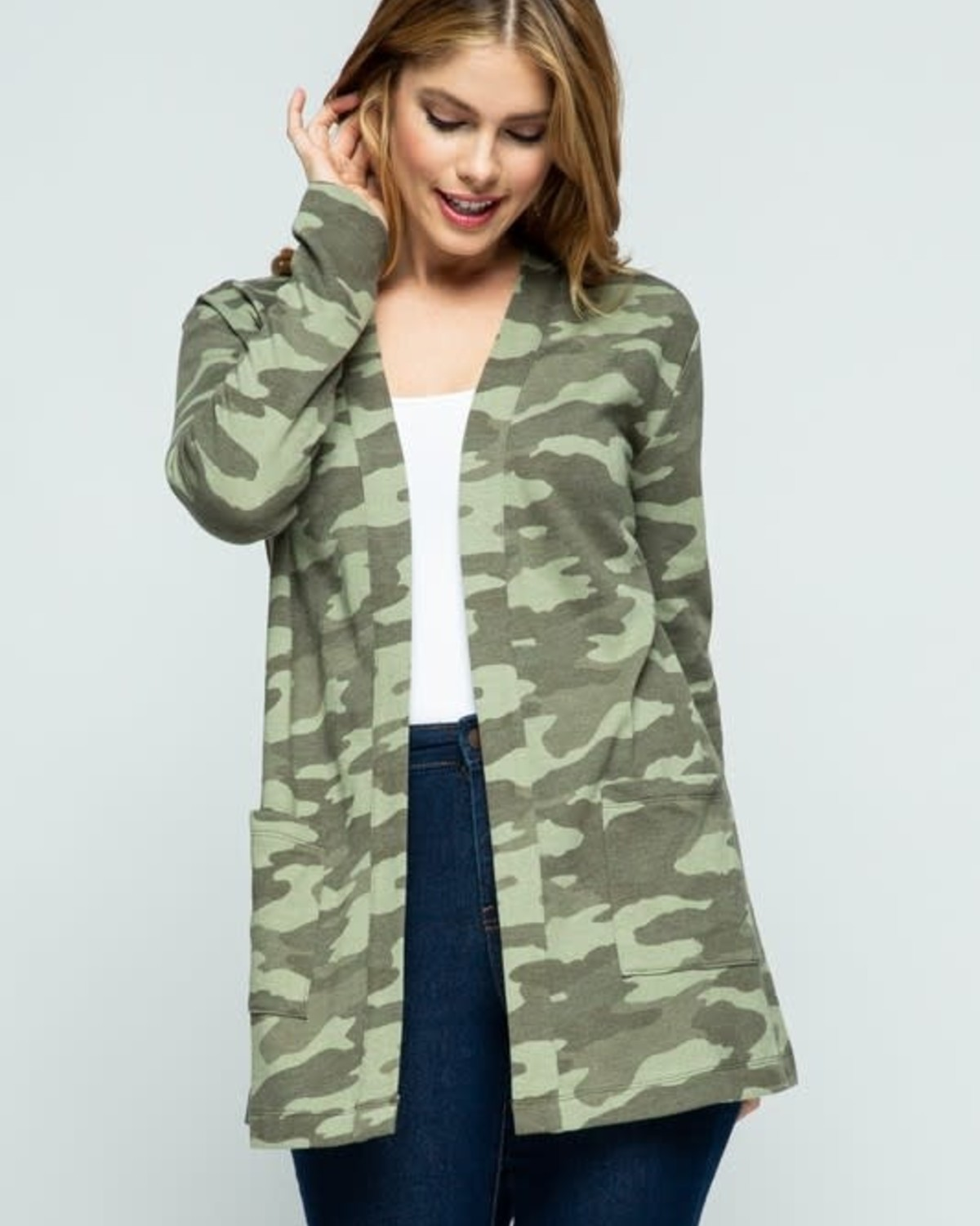 Olive Camouflage Open Front Knit Cardigan