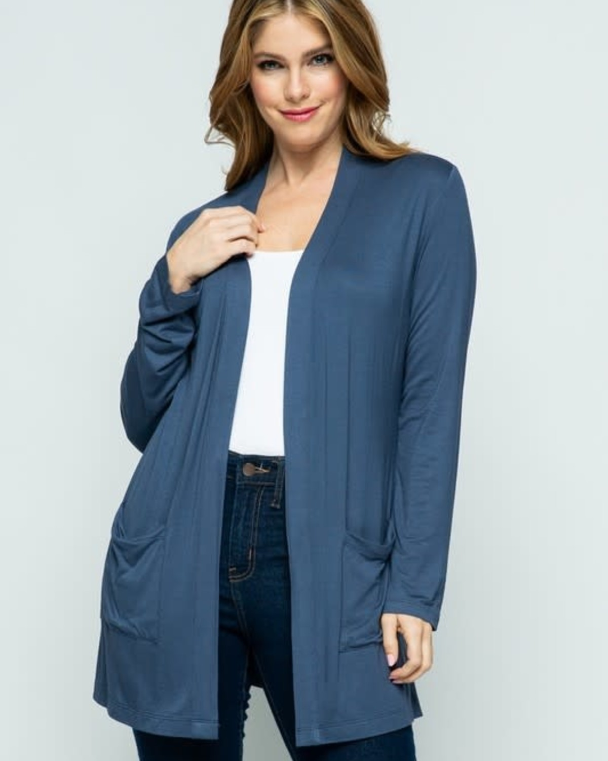 Turnberry Blue Open Front Knit Cardigan