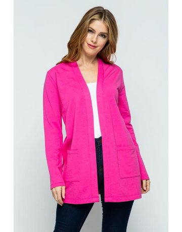 Inspiration Pink Open Front Knit Cardigan