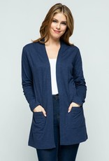 American Navy Open Front Knit Cardigan