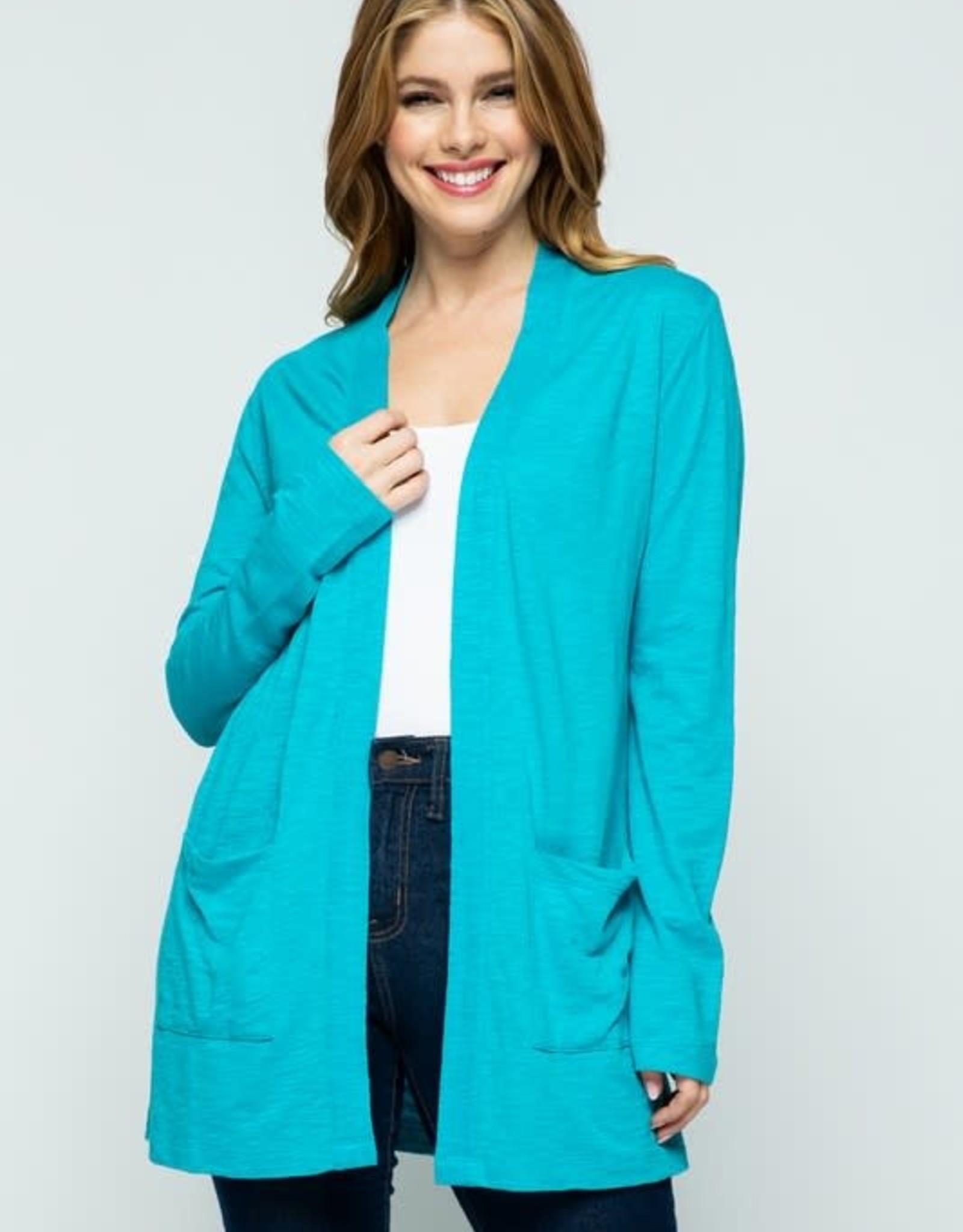 Aligier Blue Open Front Knit Cardigan