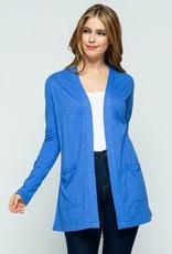 Amparo Blue Open Front Knit Cardigan