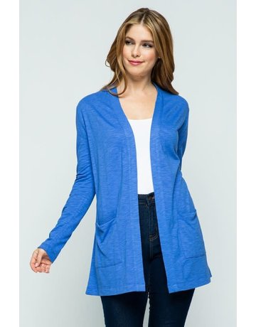 Amparo Blue Open Front Knit Cardigan