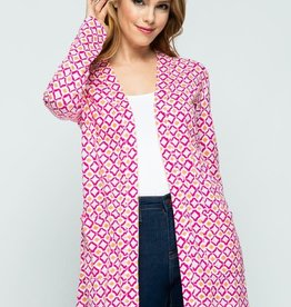 Pink Summer Print Open Front Knit Cardigan
