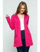 Cherry Open Front Knit Cardigan