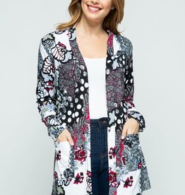 Floral Paisley Open Front Knit Cardigan