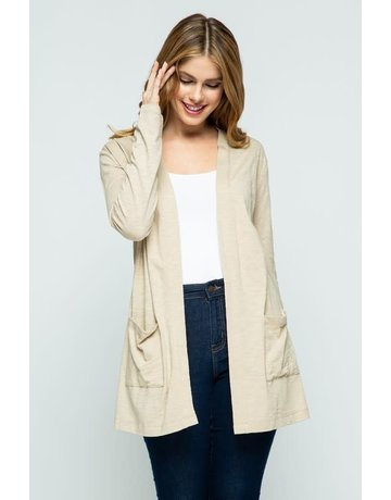 Sand Open Front Knit Cardigan