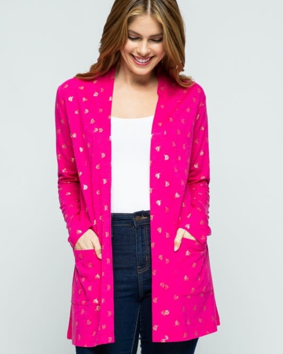 Summer Berry Print Open Front Knit Cardigan
