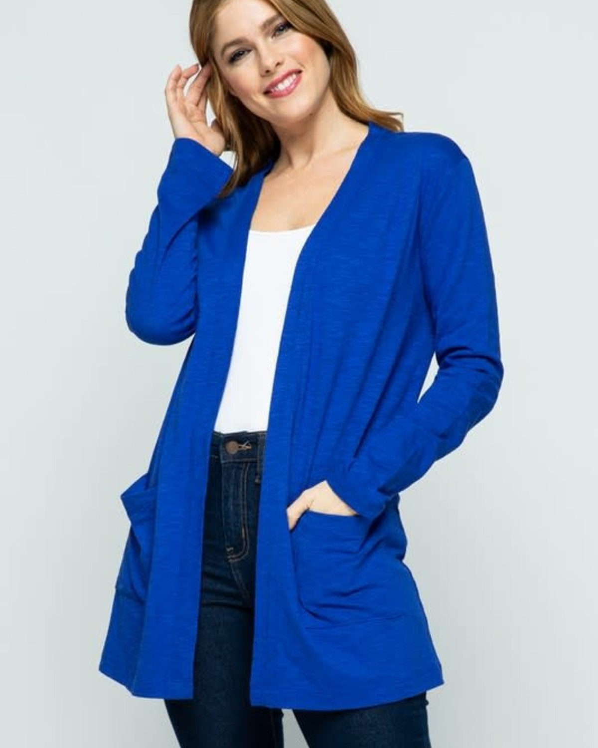 Blue Groto Open Front Knit Cardigan