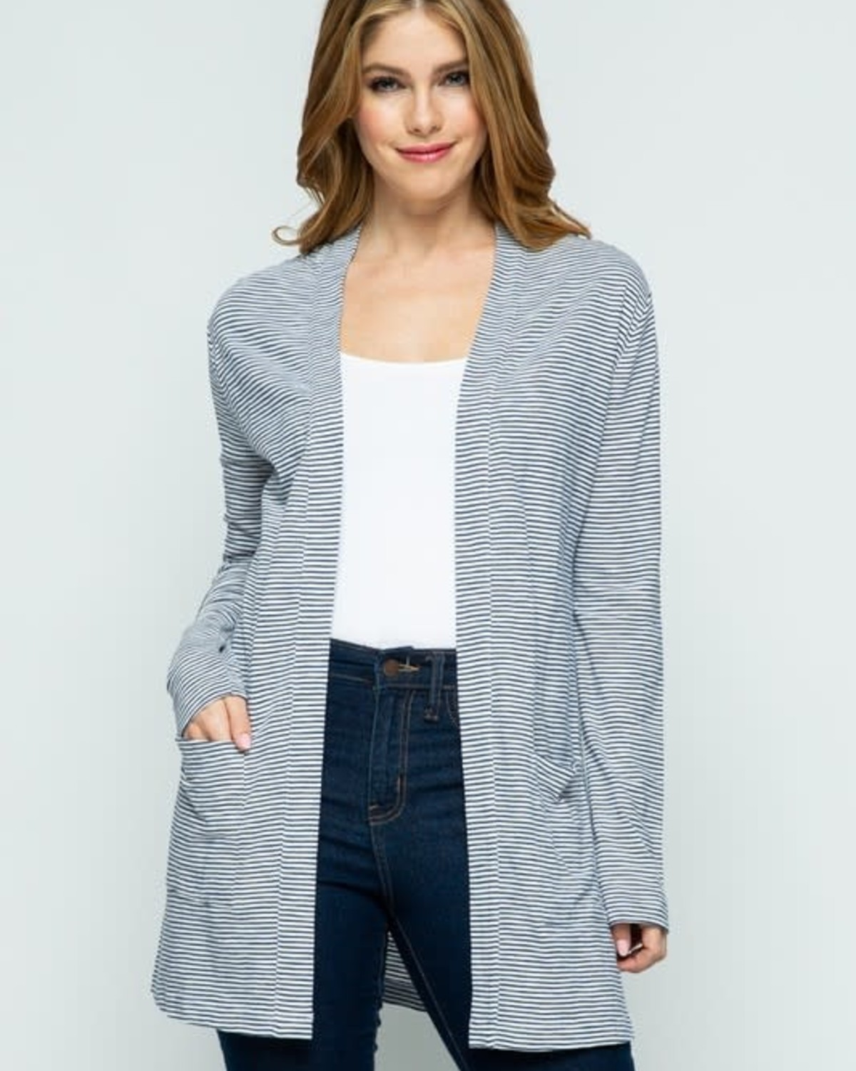 Navy Striped Open Front Knit Cardigan