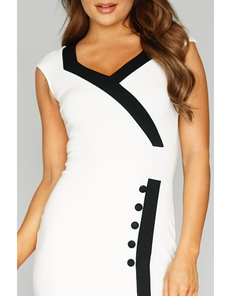 Contrasting Lines Dress Ivory