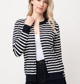 Navy & White Striped Round Neck Cardigan