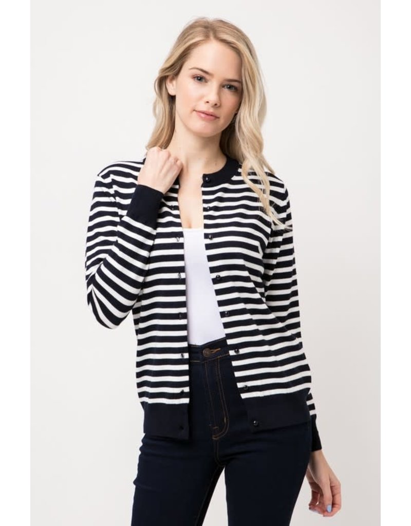 Navy & White Striped Round Neck Cardigan
