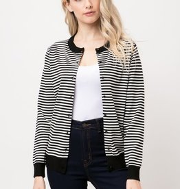 Black & White Mini Round Neck Striped Cardigan