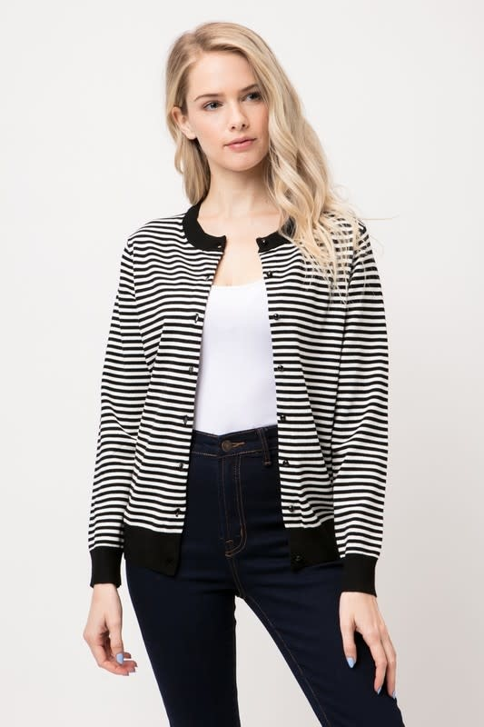 Black & White Mini Round Neck Striped Cardigan