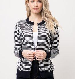 Navy & White Striped Mini Round Neck Cardigan