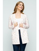 Pink/Gold Open Front Knit Cardigan