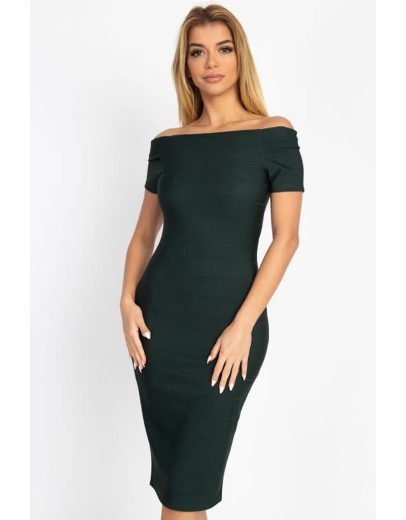 Keep Me Young Bandage Dress Hunter Green