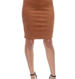 Don't Doubt Me Suede Skirt Cognac