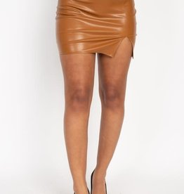 Come My Way Leather Skirt