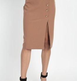 Like A Glove Buttoned Skirt Mocha