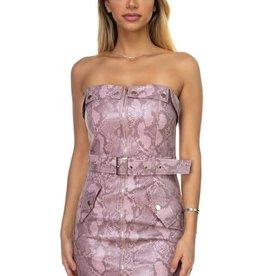 Hot Nights Snakeskin Leather Dress