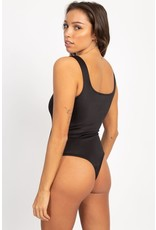 Anything Goes Satin Bodysuit Black