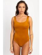 Anything Goes Satin Bodysuit Camel